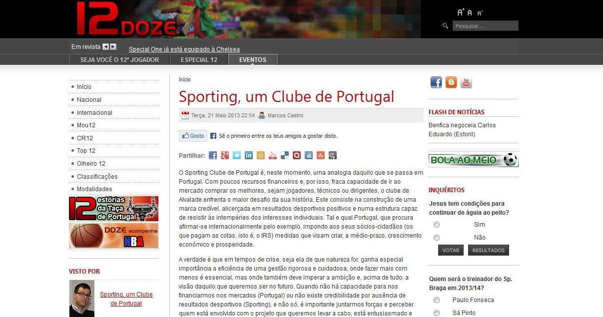 print artigo dozeonline sporting, um clube de portugal