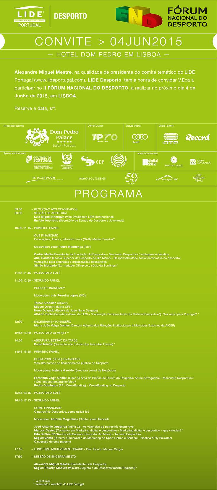 Programa LIDE Desporto Forum Nacional do Desporto